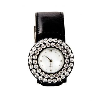 Watch domed circle  crown double swarovksi
