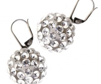 Shaking transparent  earrings with 925 silver sash, 16 mm spheres, swarovski balls