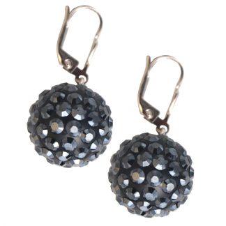 Shaking BLACK earrings with 925 silver sash, 16 mm spheres, black swarovski balls