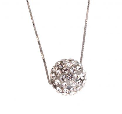Collana argento 925 sfera mm12 passante pavè