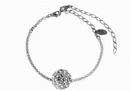 Cavigliera catena argento con mezzasfera mm14 pavè swarovski lunghezza regolabile