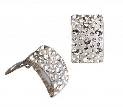 orecchini clip rettangolo crystal