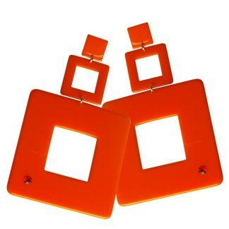 Orecchini arancio quadrati maxi