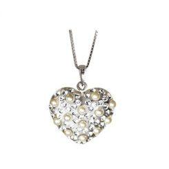 Collana cuore perle e swarovski