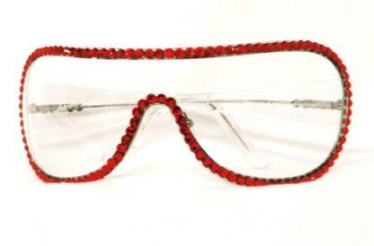 Mascherina occhiali Swarovski rossi