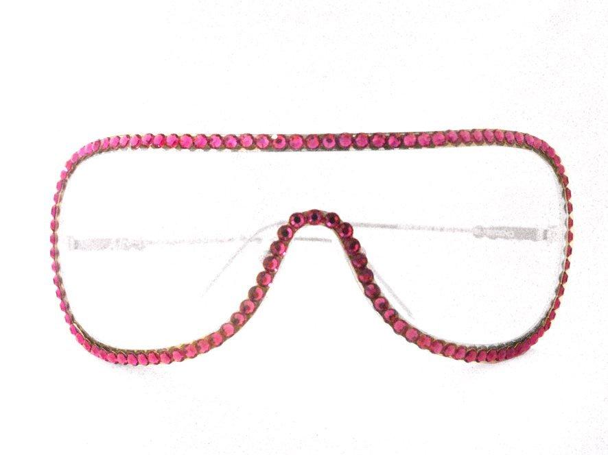 Mascherina occhiali Swarovski fuxia