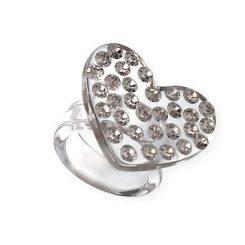 anello cuore pavè di swarovski divertente e moderno