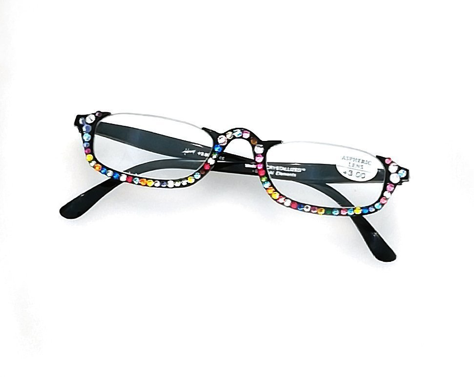 Occhiale lettura neri con swarovski muticolor